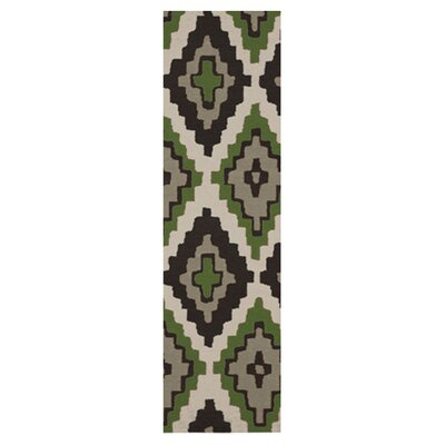 Alameda Black & Green Area Rug Rug Size: Runner 26 x 8