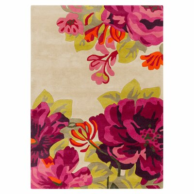 Khaki & Magenta Area Rug Rug Size: Rectangle 33 x 53