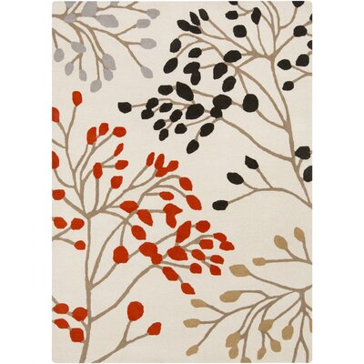 Sanderson Gray/Poppy Floral Area Rug Rug Size: Rectangle 5 x 8