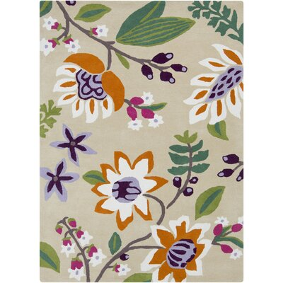 Sanderson Beige Floral Area Rug Rug Size: Rectangle 33 x 53