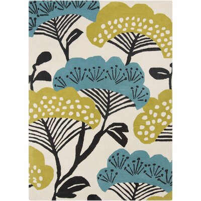 Sanderson Beige & Teal Floral Area Rug Rug Size: Rectangle 5 x 8
