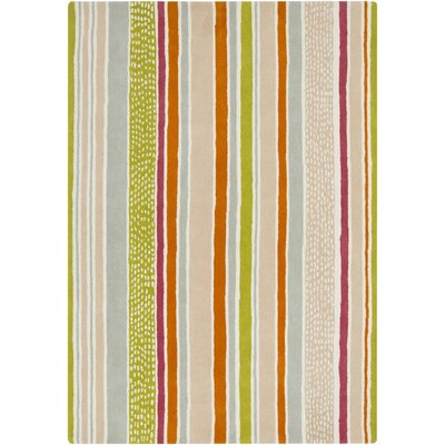 Sanderson Burnt Orange/Moss Stripe Area Rug Rug Size: Rectangle 33 x 53