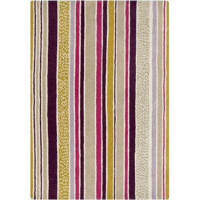 Sanderson Hand-Tufted Eggplant/Olive Stripe Area Rug Rug Size: Rectangle 2 x 3
