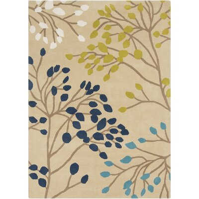 Hand-Tufted Wool Ivory/Navy Area Rug Rug Size: Rectangle 2 x 3