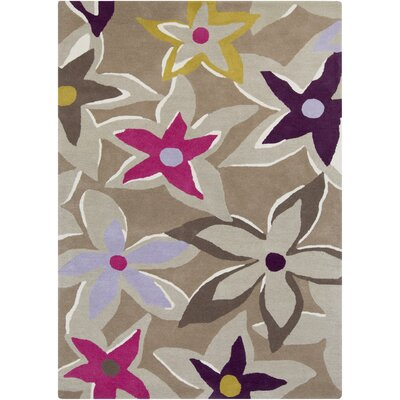 Sanderson Hand-Tufted Gray/Taupe Area Rug Rug Size: Rectangle 33 x 53