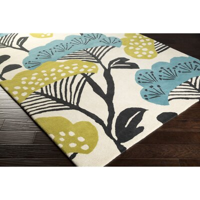 Sanderson Beige & Teal Floral Area Rug Rug Size: Rectangle 8 x 11