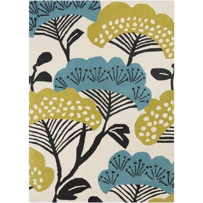Sanderson Beige/Teal Floral Area Rug Rug Size: 8 x 11