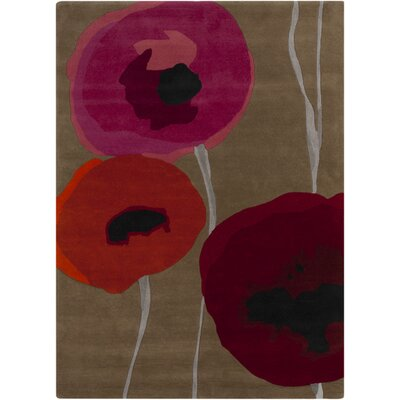 Caper Gray & Red Area Rug Rug Size: 33 x 53