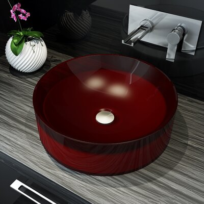 Meli Circular Vessel Bathroom Sink Sink Finish: Red