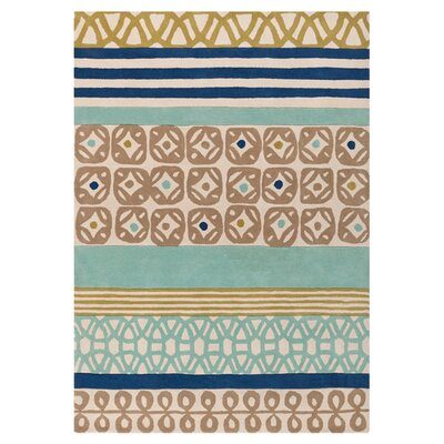 Foggy Blue/Kelp Brown Area Rug Rug Size: 5 x 8