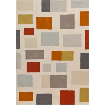 Hand Woven Wool Beige/Gray/Orange Area Rug Rug Size: Rectangle 2 x 3