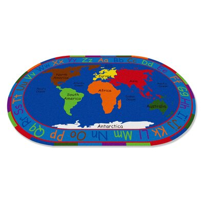 All Around the World Map Kids Rug Rug Size: 6 x 86