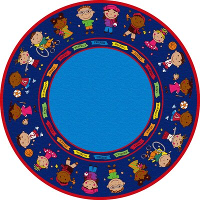 Friends Blue Circle Area Rug Rug Size: Round 12