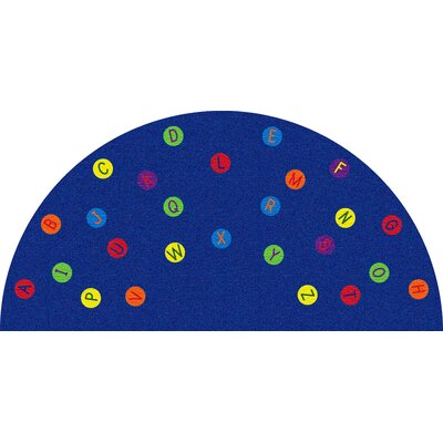 Alphabet Dots Blue Semicircle Area Rug