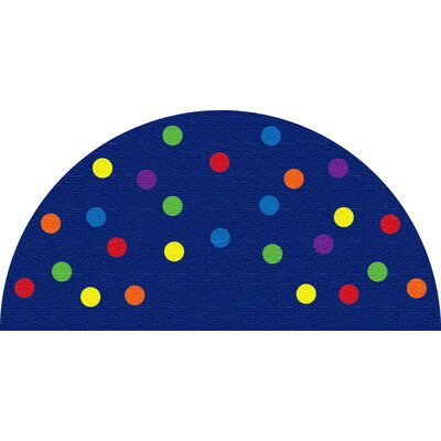 Spots Blue Semicircle Area Rug