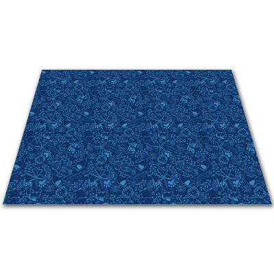 Animal Doodles Blue Area Rug Rug Size: Square 12