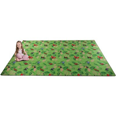 Buzzy Bugs Green Area Rug Rug Size: Rectangle 9 x 12