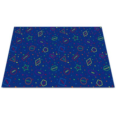 I Know My Shapes Blue Area Rug Rug Size: Rectangle 4 x 6