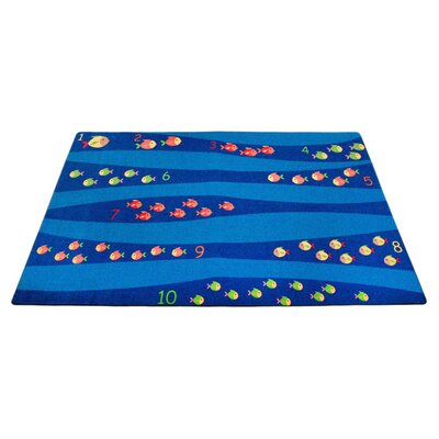 Classroom Blue School of Fish Area Rug Rug Size: 4 x 6