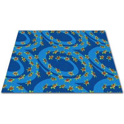 A-B-Sea Turtles Blue Area Rug Rug Size: Rectangle 12 x 16