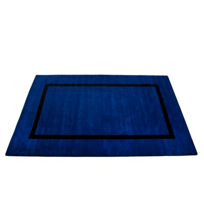 Montessori Blue with Black Line Classroom Kids Rug Rug Size: Oval 76 x 12