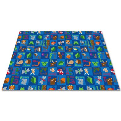Animals In The Forest Blue Area Rug Rug Size: Rectangle 12 x 18