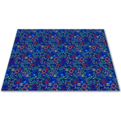 Animal Doodles Blue Area Rug Rug Size: Square 6