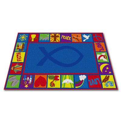 Bible Squares Christian School Blue Area Rug Rug Size: 4 x 6