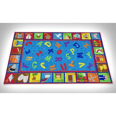 Bible Sunday School with ABCs Blue Area Rug Rug Size: 76 x 12