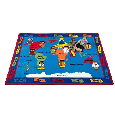Our World of Peace Globe Blue Indoor/Outdoor Area Rug Rug Size: 76 x 12