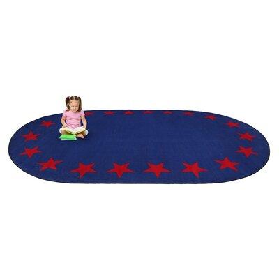 Blue Star Border Classroom Area Rug Rug Size: Oval 76 x 12