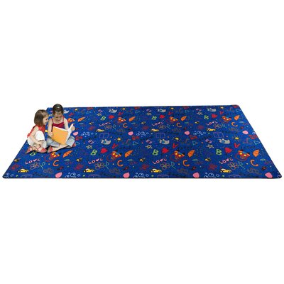 Playtime Doodle Blue Area Rug Rug Size: Rectangle 6 x 12