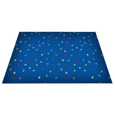 Blue Scattered Letters Area Rug Rug Size: Square 12