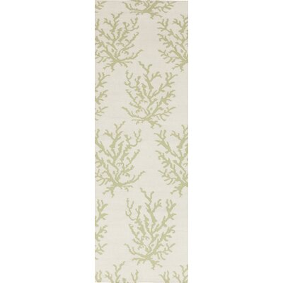 Boardwalk Hand-Woven Wool Lime/Beige Area Rug Rug Size: Runner 26 x 8