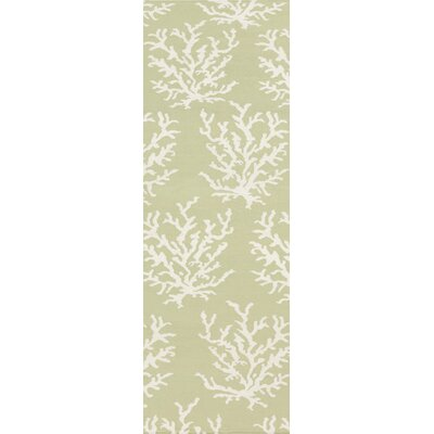 Boardwalk Hand-Woven Wool Lime/White Area Rug Rug Size: Runner 26 x 8