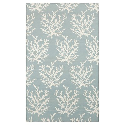 Boardwalk Sky Blue & White Area Rug Rug Size: 2 x 3