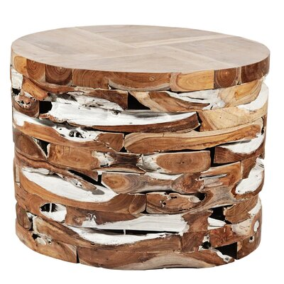 Round Teak Block End Table Color: White