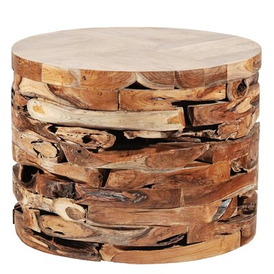 Round Teak Block End Table Color: Natural
