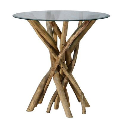 Round Teak Branch End Table