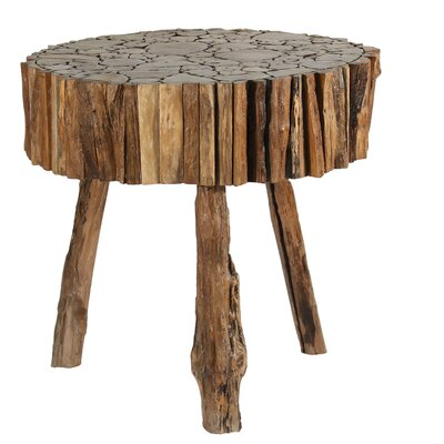 Round Cut Teak Wood End Table