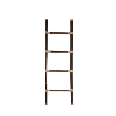 Bamboo 5 ft Decorative Ladder with Rattan Sculpture D140M