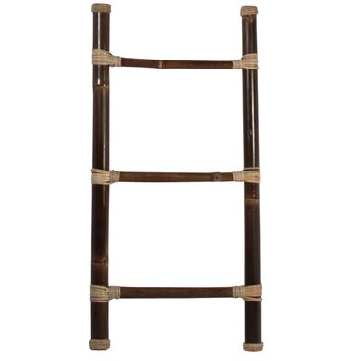 "Bamboo 20"" W x 40"" H Decorative Ladder with Rattan Sculpture D140S"