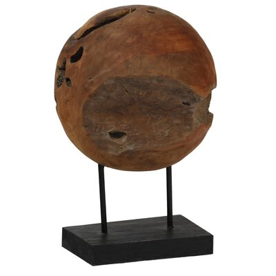 Teak Ball on Stand Sculpture