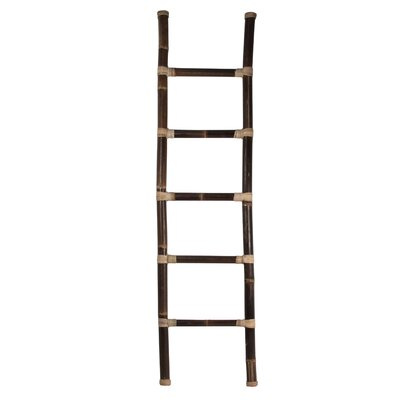 Bamboo 6.5 ft Decorative Ladder with Rattan Sculpture D140L