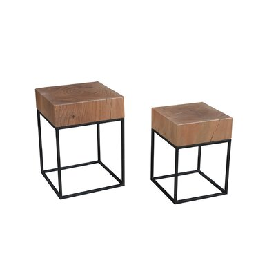 2 Piece Square Metro End Table Set