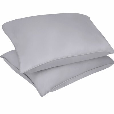 Microfiber Stain and Water Resistant Bed Polyfill Pillow Size: King, Color: Silver