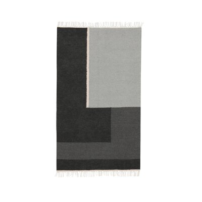 Hand-Loomed Black Area Rug Rug Size: Rectangle 27 x 47