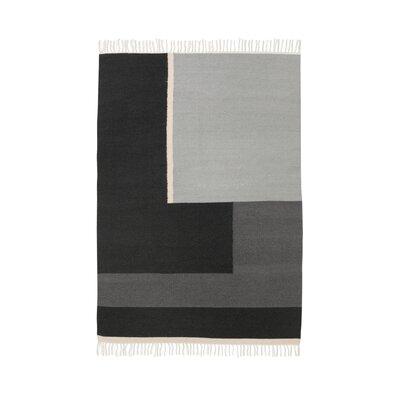 Hand-Loomed Black Area Rug Rug Size: 47 x 67