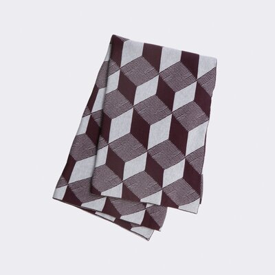 Jacquard Knitted Squares Cotton Blanket Color: Bordeaux