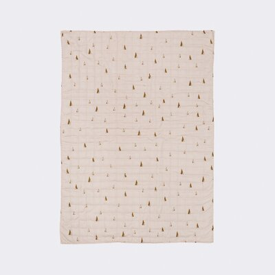 Ferm Living Kids Cone Quilted Cotton Blanket Color: Rose